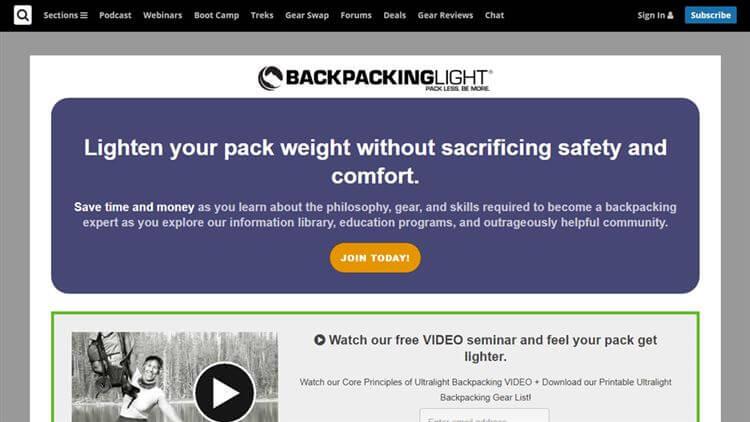 Backpacking Light