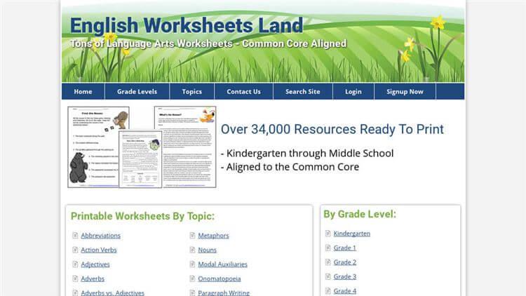 English Worksheets Land